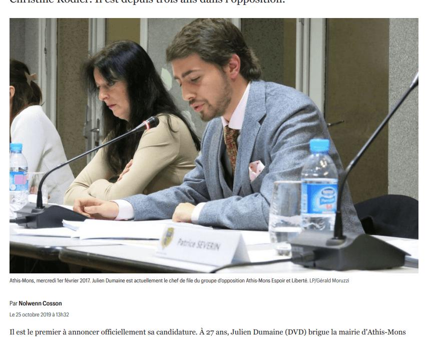 """Le Parisien – """"Athis-Mons : à 27 ans, Julien Dumaine se lance dans la course aux municipales"""""""