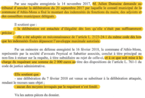 Extrait 1: requête de Julien DUMAINE et position de la ville d'Athis-Mons