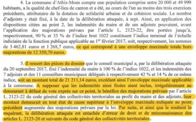 Jugement du Tribunal de Versailles concernant la délibération fixant le montant des indemnités d'élus d'Athis-Mons