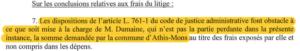 Extraits 4: Le tribunal ne donne pas suite au mémoire en défense de la ville qui invitait Julien DUMAINE à se désister, sous la menace d'être condamné à verser la somme de 2000€ pour frais de justice