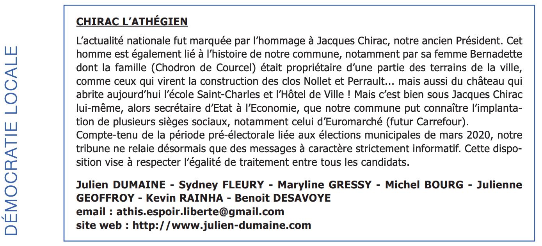 Tribune L'Athégien Novembre 2019