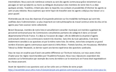 Nos réponses au syndicat CGT des agents territoriaux la ville d'Athis-Mons